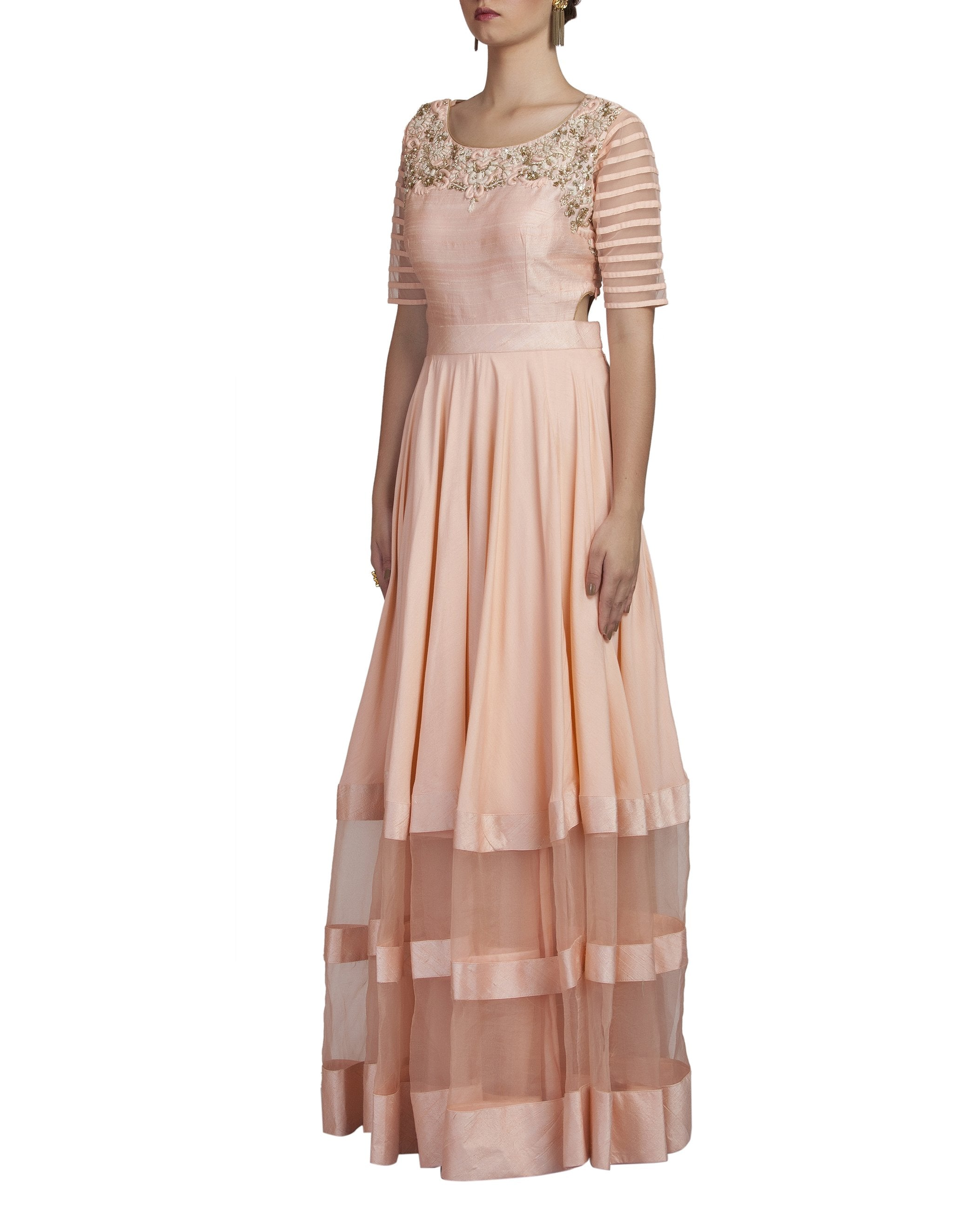 peach color gown