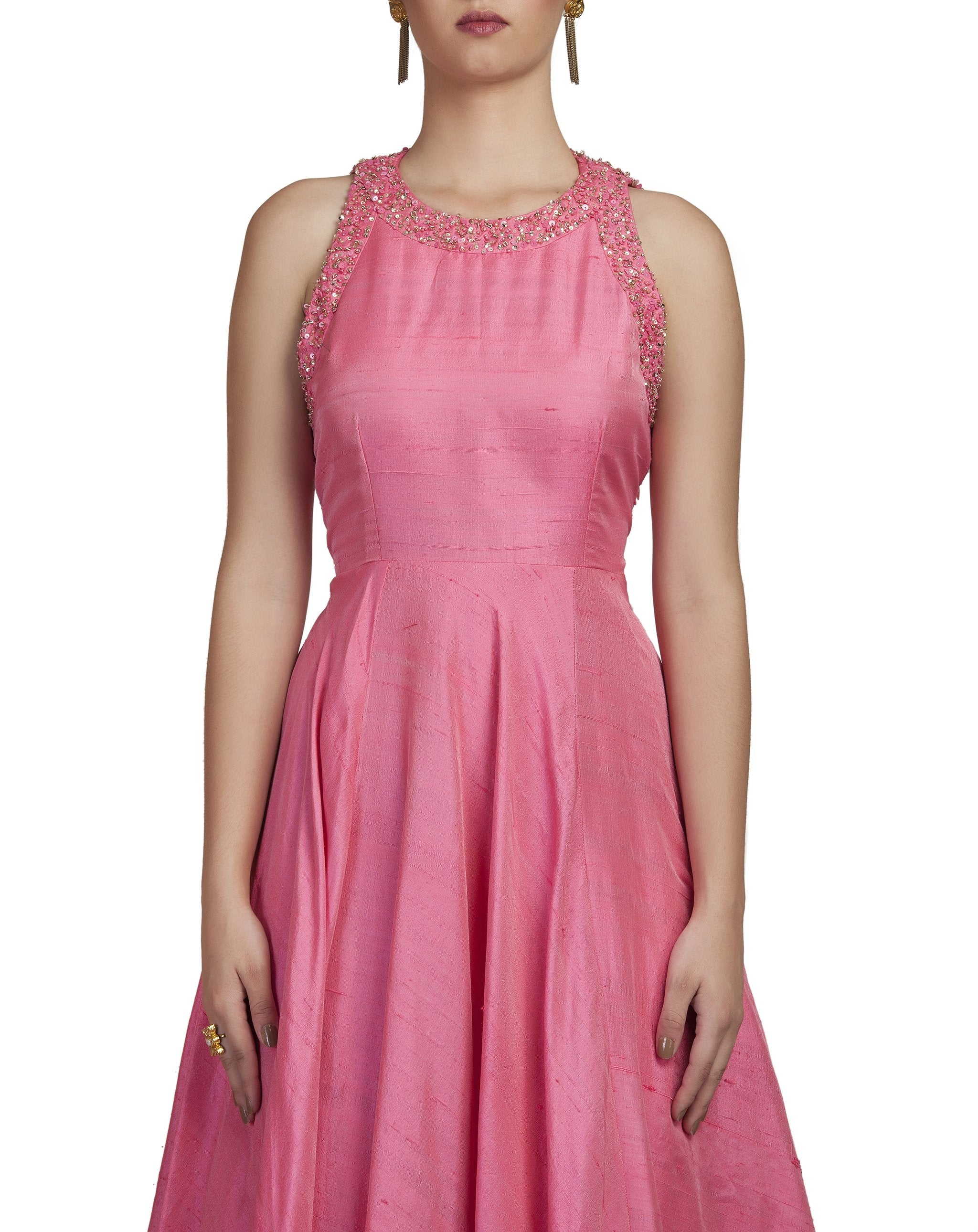 Bubble Pink Embroidered Gown