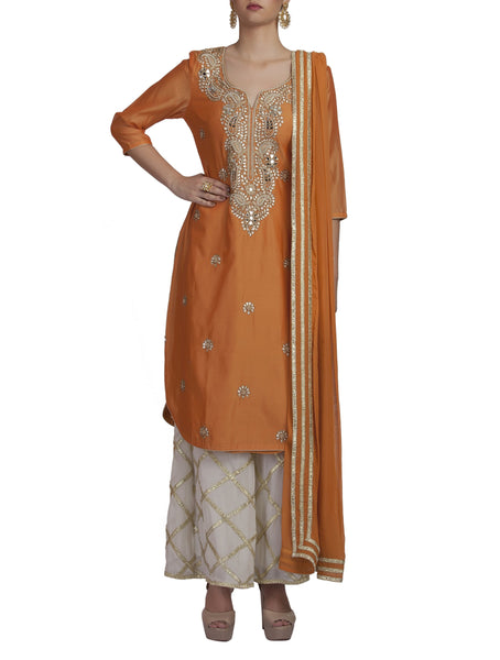 Mustard Embroidered Kurta and Palazzo Set