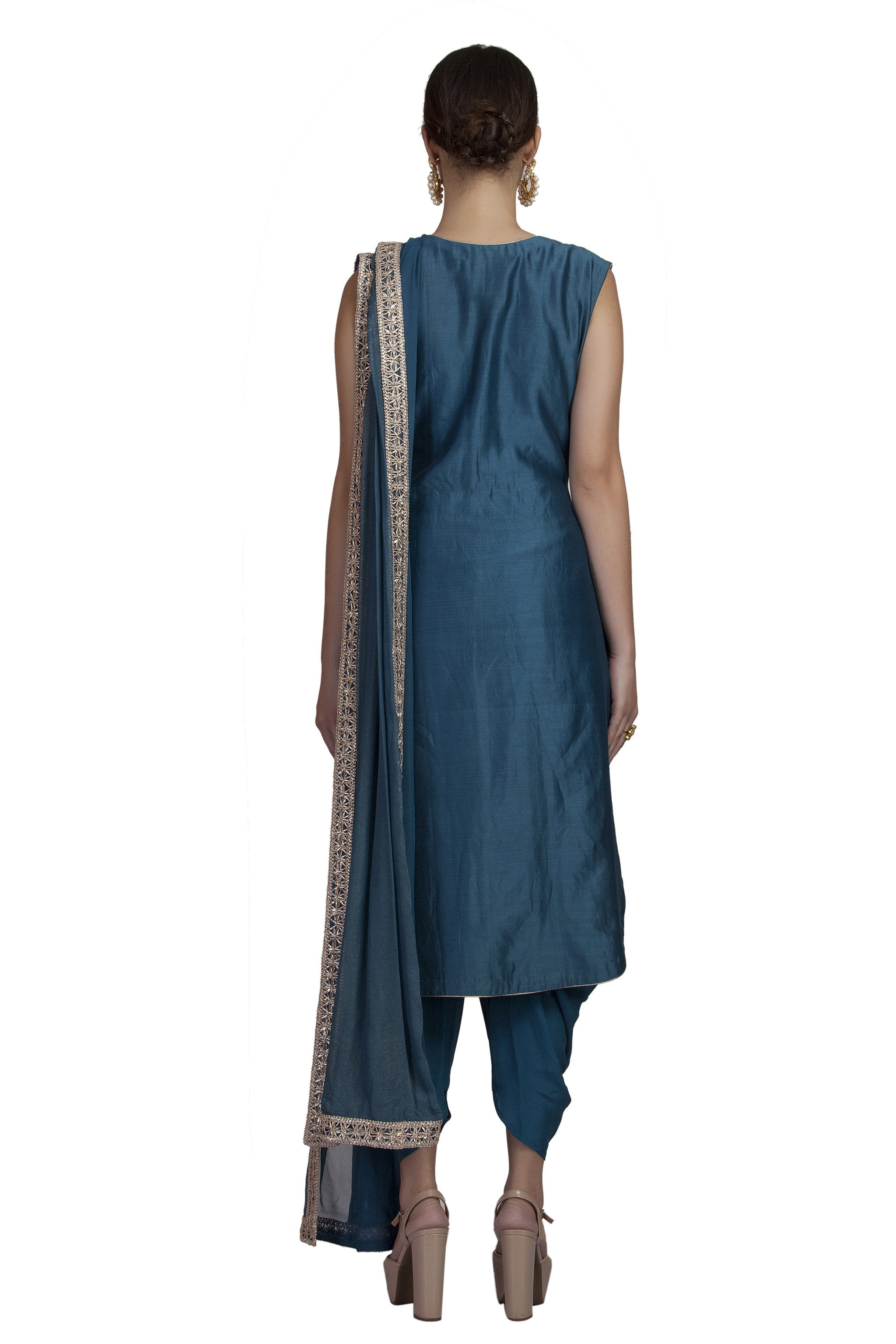 Teal Embroidered Dhoti Set