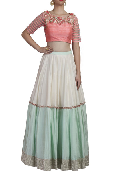 Blue and Pink Crop Top and Skirt Set