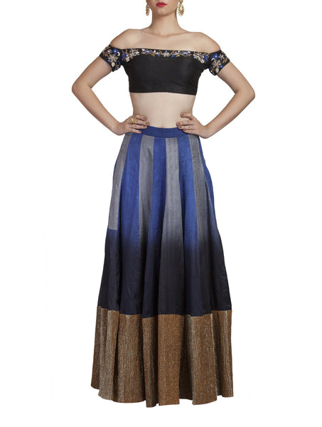 Blue Shaded Crop Top and Skirt