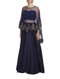 Blue Lehenga with Embroidered Cape