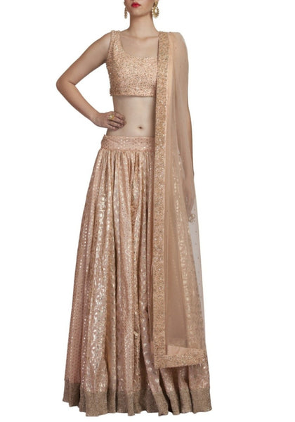 Peach Embroidered Lehenga