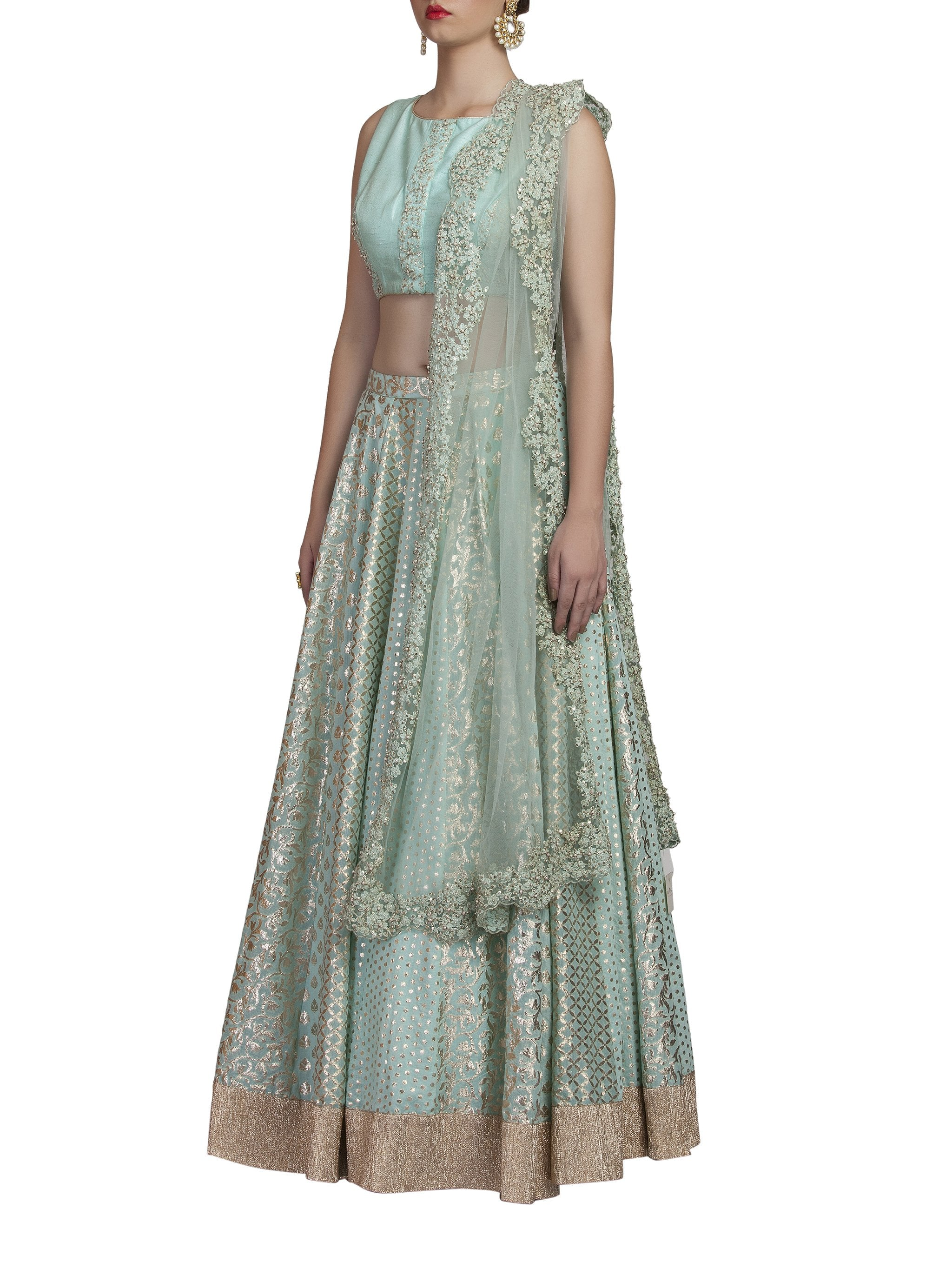 Light Blue Chanderi Lehenga Set