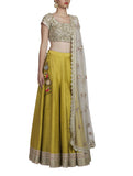 Green Raw Silk Lehenga Set