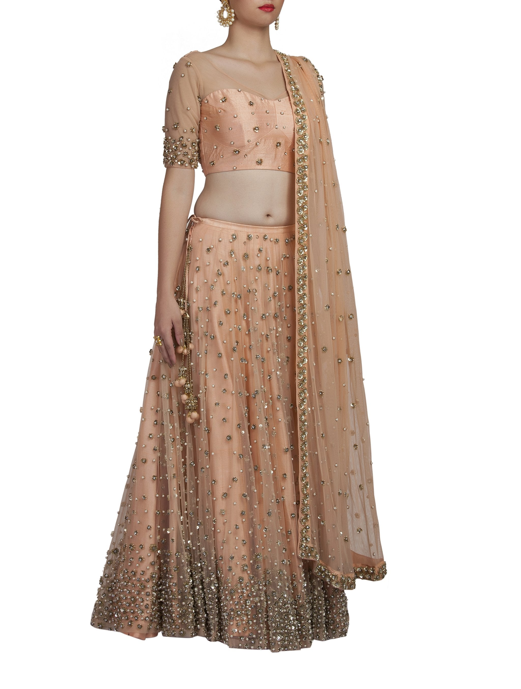 Peach Sequence Lehenga Set