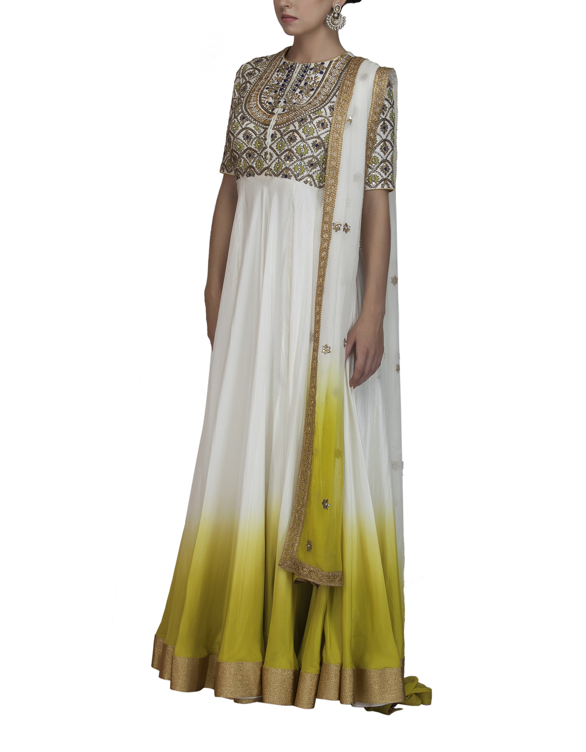 Ombre Dyed Embroidered Anarkali
