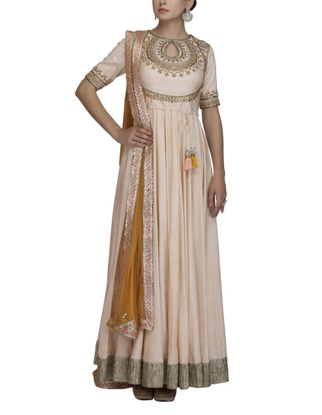 Peach Embroidered Anarkali