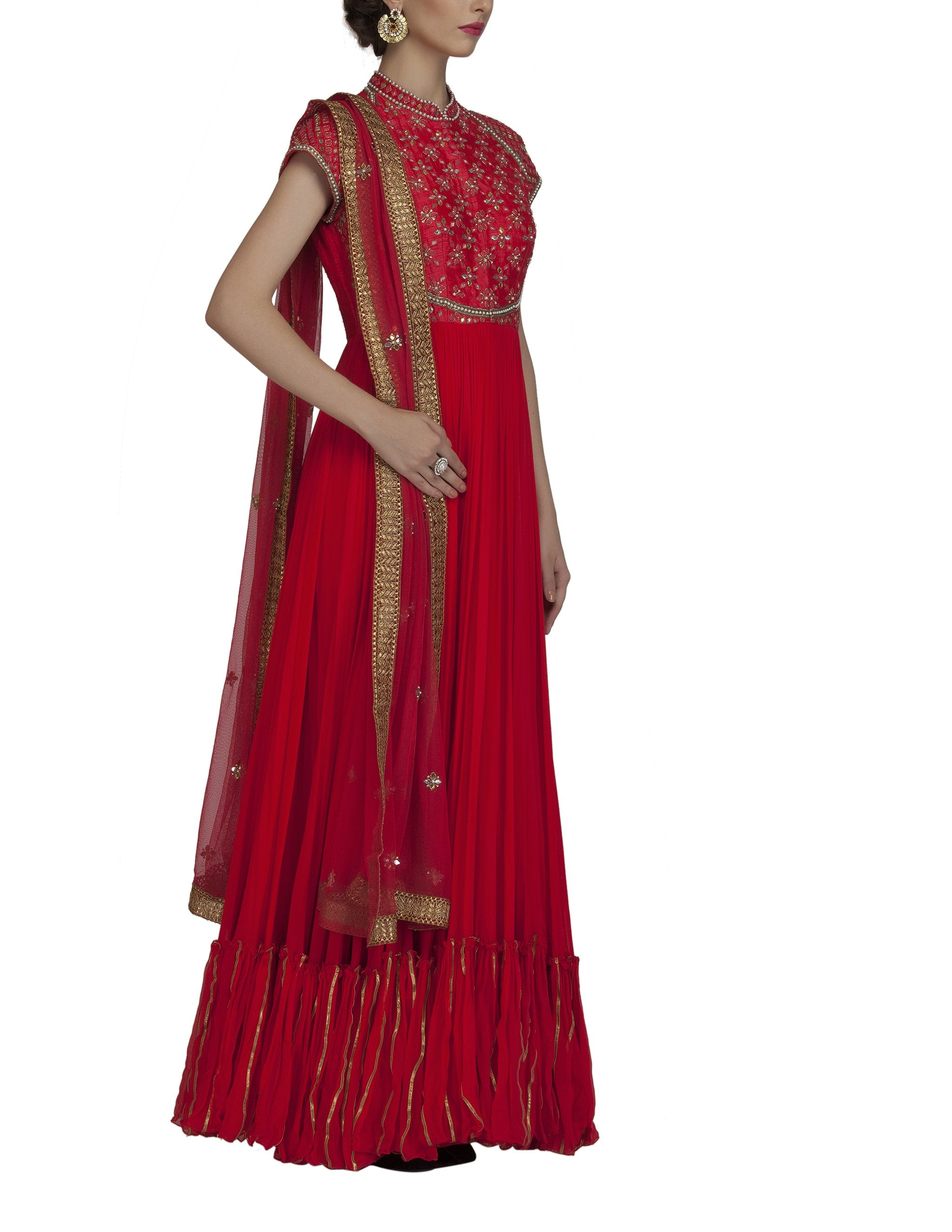 Red Georgette Anarkali