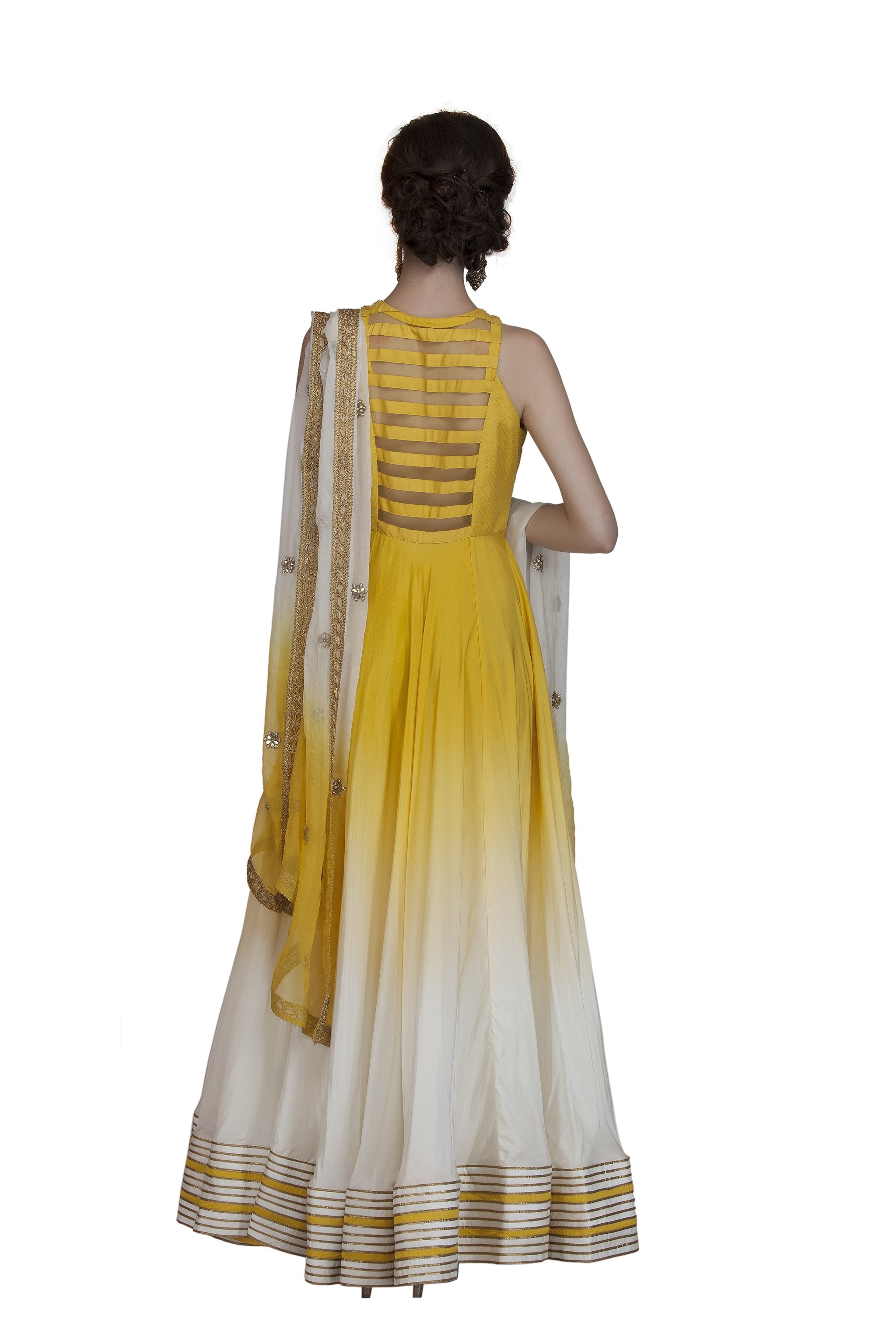 Yellow Embroidered Anarkali