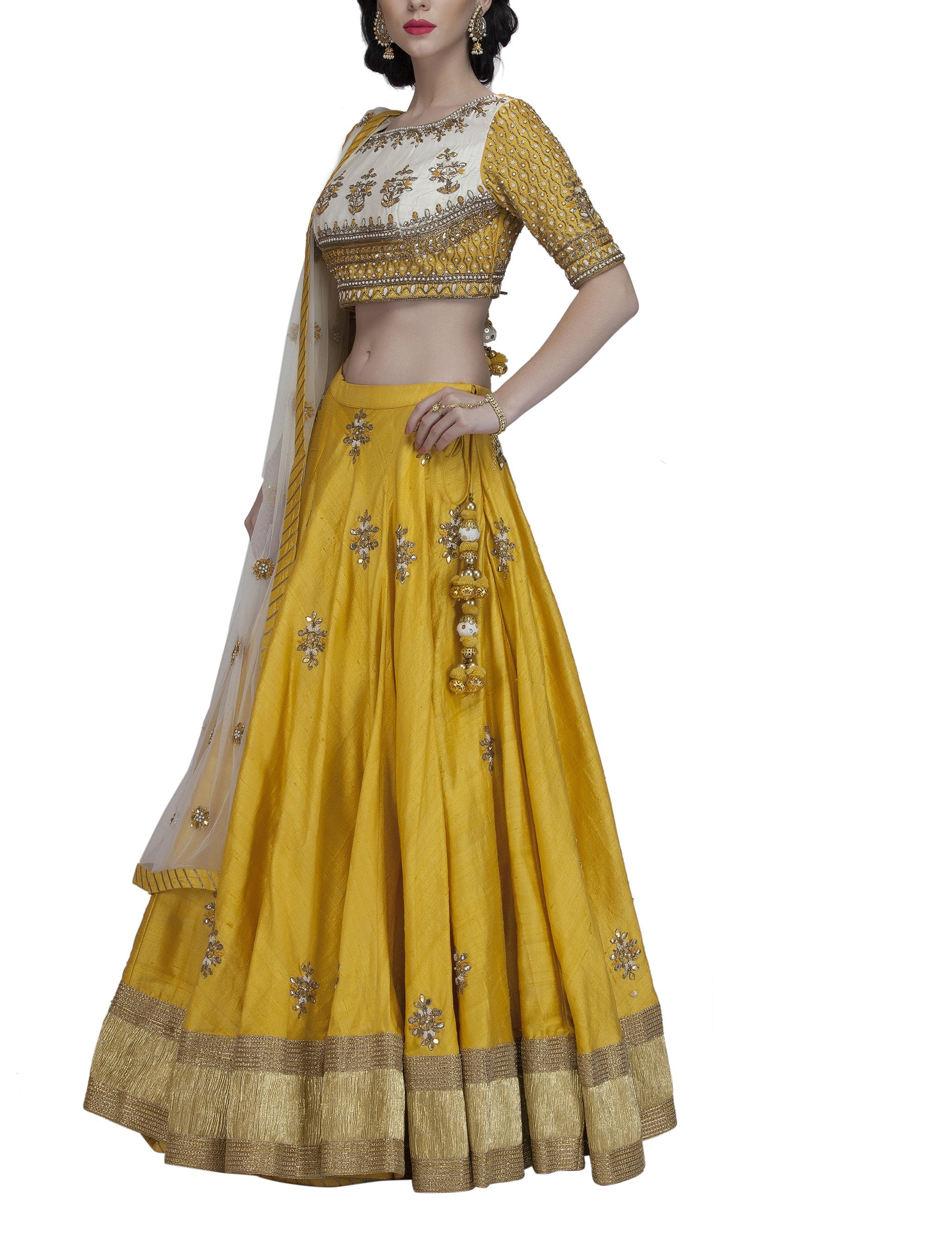 Yellow Gota work Lehenga