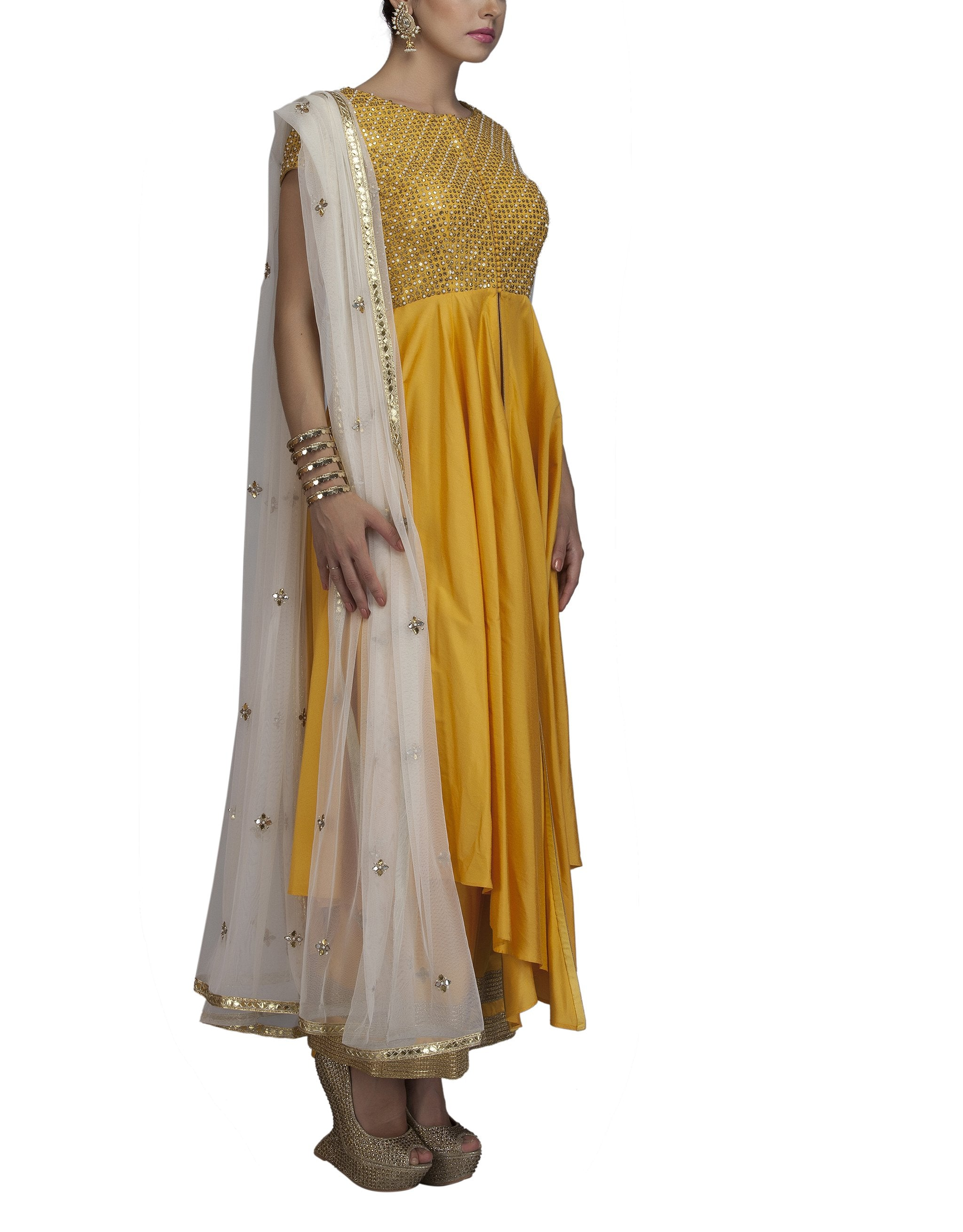 Yellow Embroidered Palazzo Set