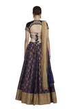 Midnight Blue Chanderi Desginer Lehenga, Backless Blouse with lathkan and Dupatta set