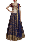 Midnight Blue Chanderi Lehenga Maroon Blouse and Dupatta Front Look