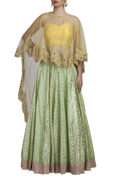 Mint Green Chanderi Lehenga and Yellow Cape