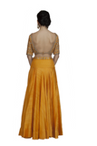 Orange Backless Embroidered Crop Top and Skirt Back look