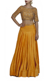 Orange Backless Embroidered Crop Top and Skirt Front look