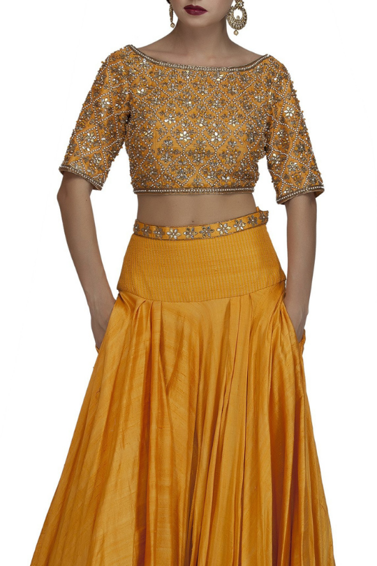 Orange Backless Embroidered Crop Top with Elbow sleeve and Skirt