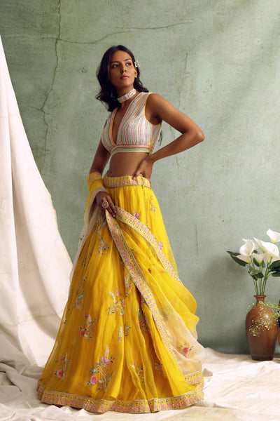 Yellow organza lehenga and ombre dupatta with Embroidered blouse