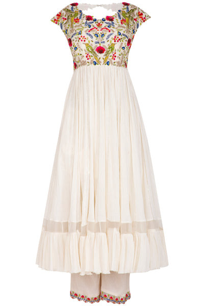Ivory Multi-colored Embroidered Anarkali Set 2