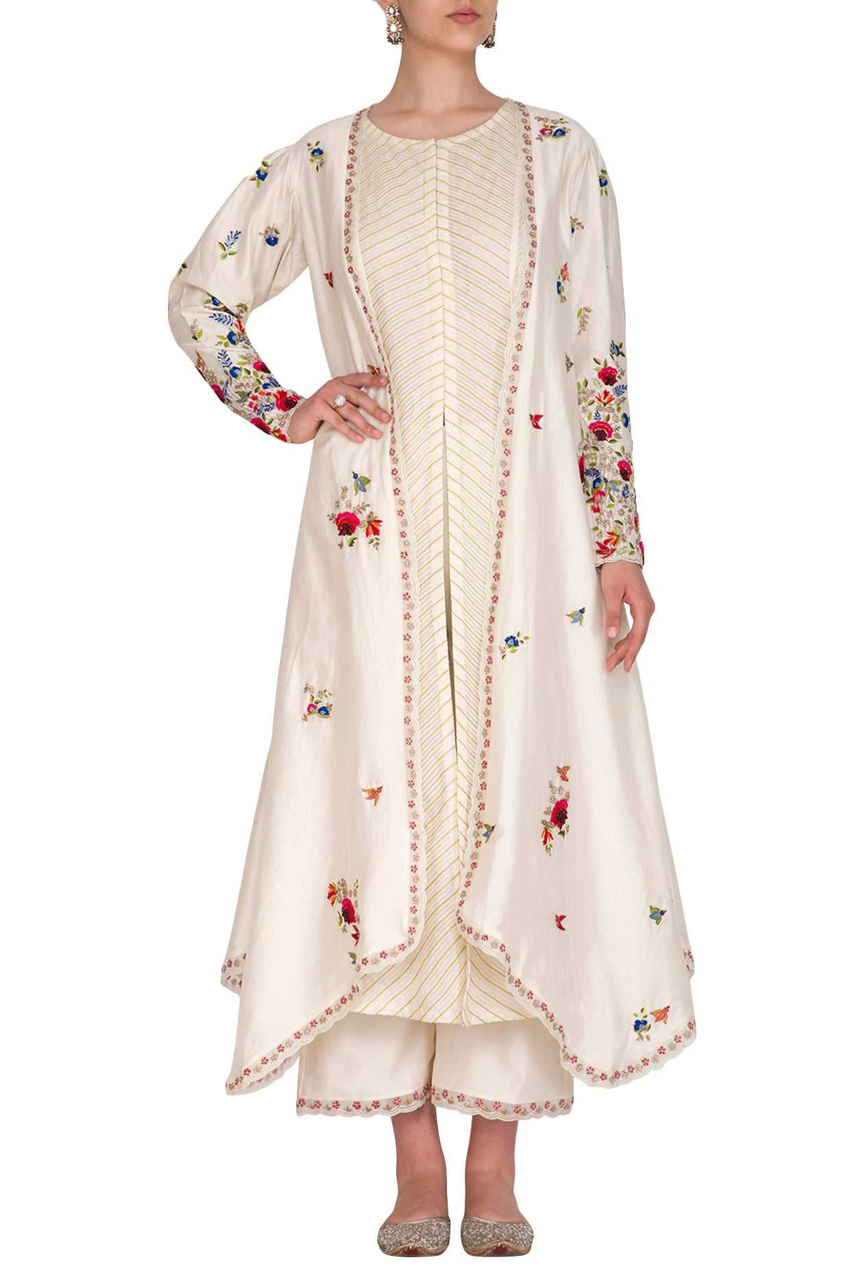 Ivory Multi-colored Embroidered Jacket Set