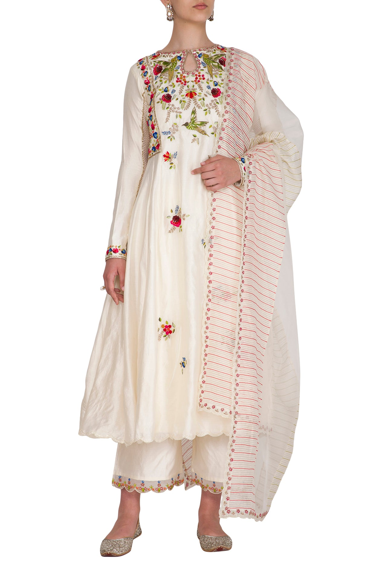 Ivory Multi-colored Embroidered Anarkali Set 3