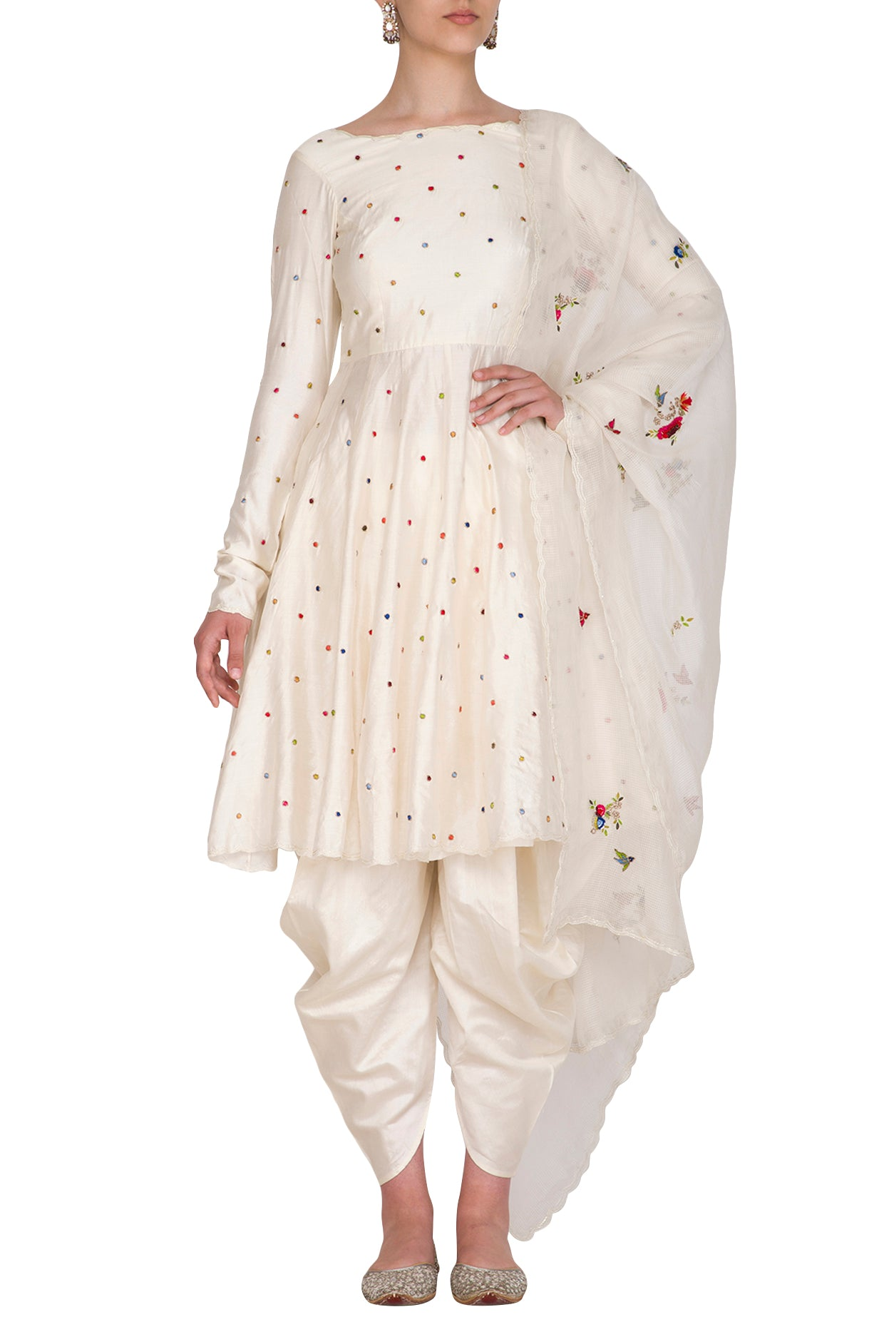 Polka Dotted Kurta with Dhoti Pant