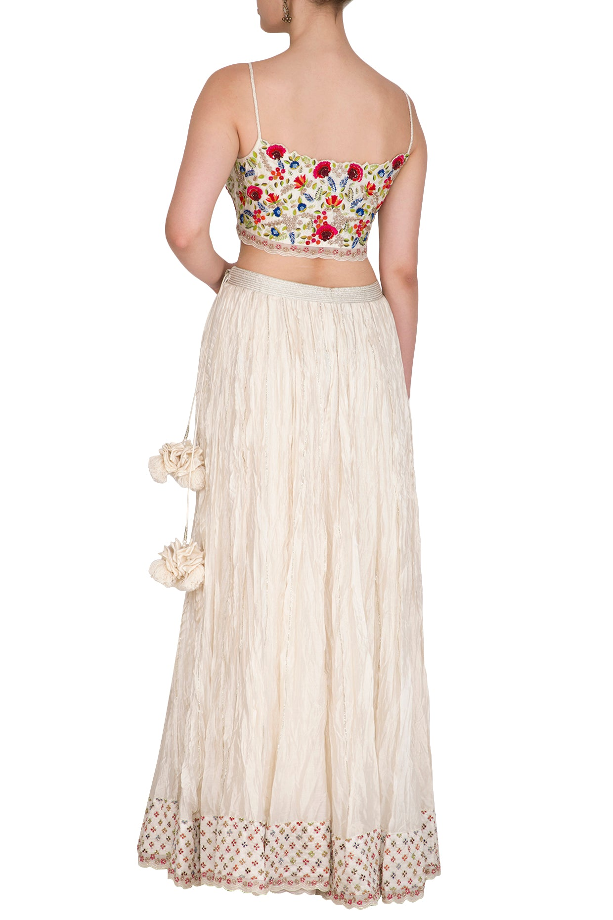 Embroidered Crop Top and Crinkle Skirt