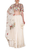 Ivory Lehenga with Multicoloured Embroidered Blouse and Dupatta