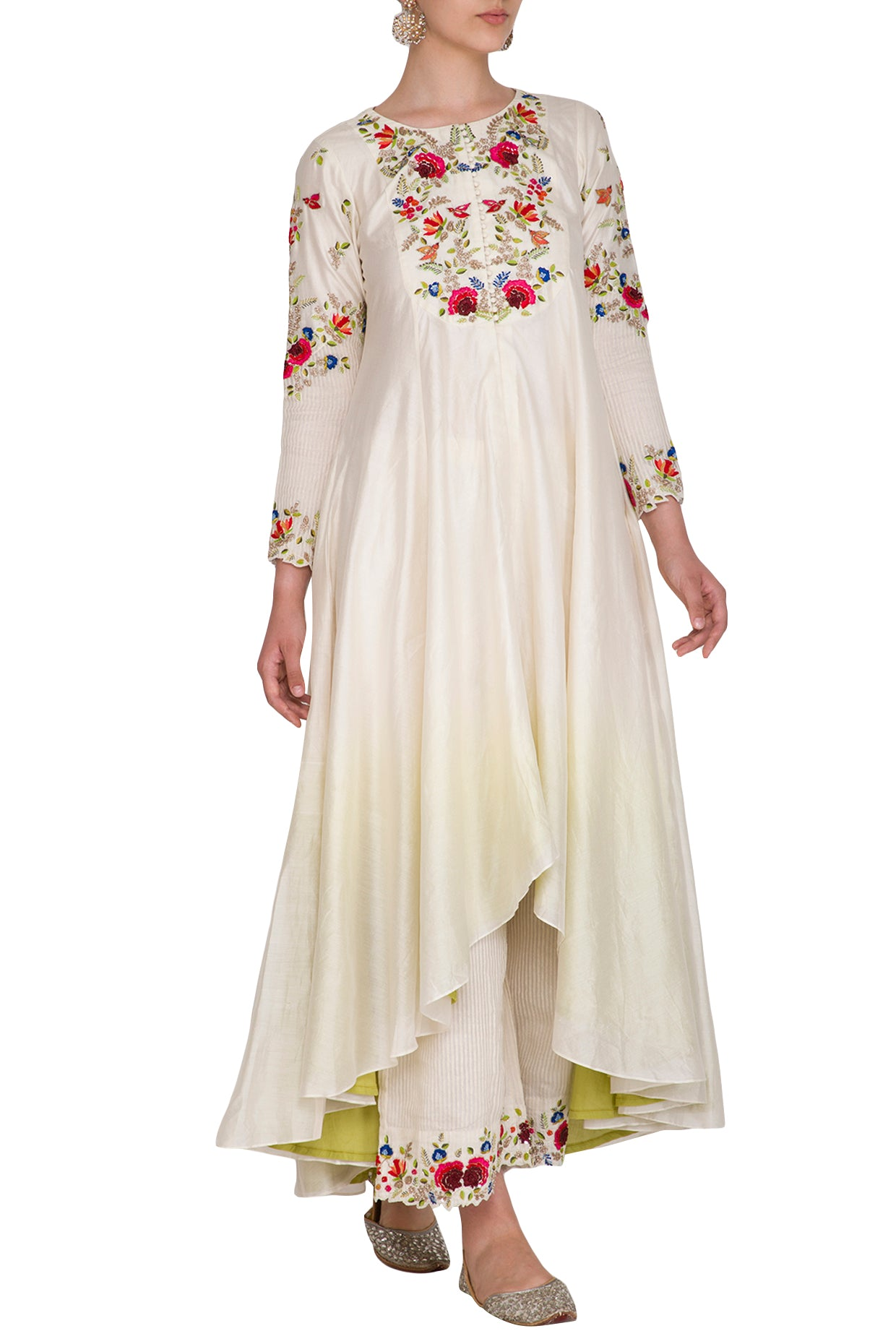 Ivory Ombre Dyed Embroidered Plazo Set