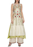 Ivory Multi-colored Embroidered Kurta Set