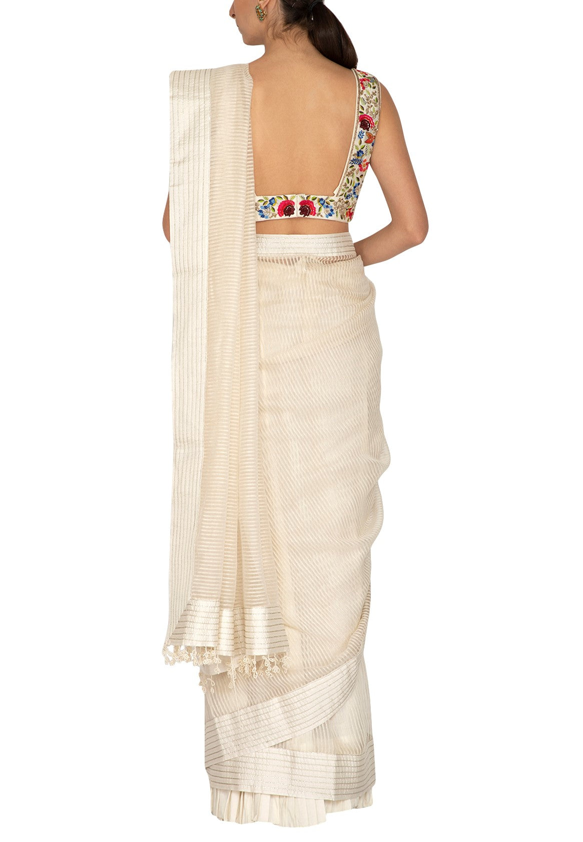 Ivory Stripe Saree With Embroidered Blouse