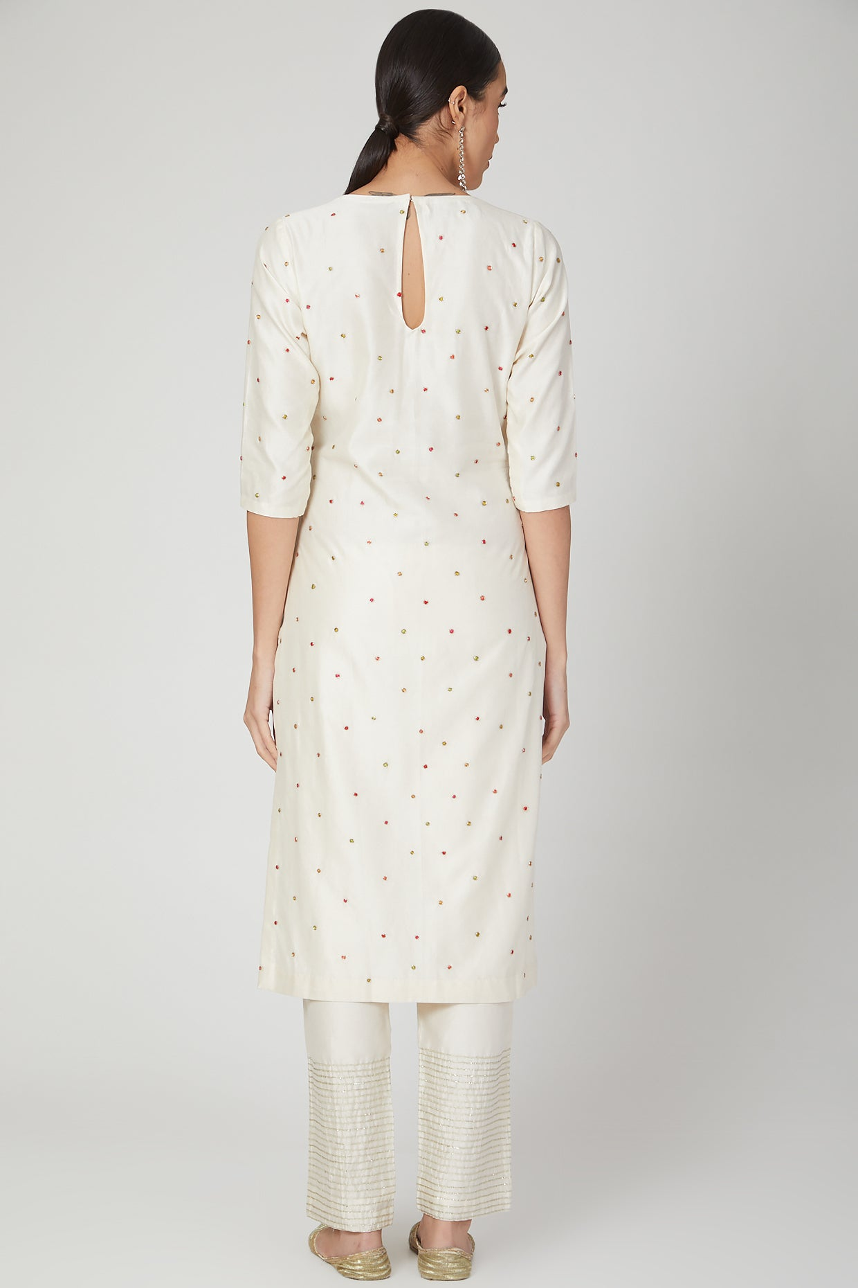 Ivory Polka dotted Embroidered Kurta and  Plazo Set
