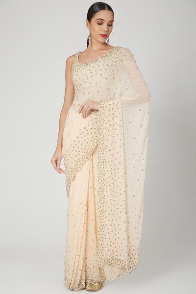 Peach Sequence Embroidered Saree Set