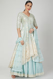 Chanderi lehenga with long jacket