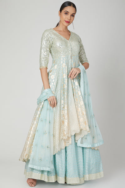 Aqua Blue Ombre Chanderi Lehenga Jacket Set