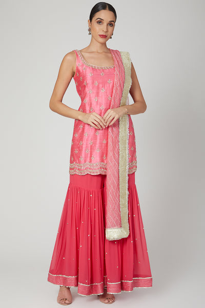 Light Pink Embroidered Sharara Set