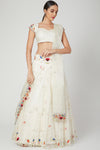 Ivory Organza Lehenga Set with Multicoloured Embroiderey