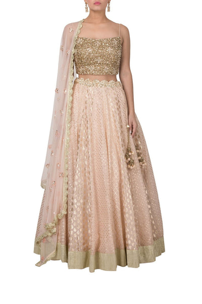 Peach Pink Chanderi Lehenga with Spaghetti Strap Top and Dupatta