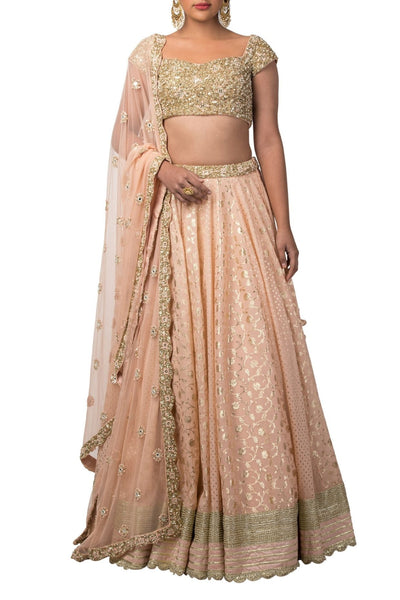 Dark Peach Color Raw Silk Lehenga Choli and Dupatta Set