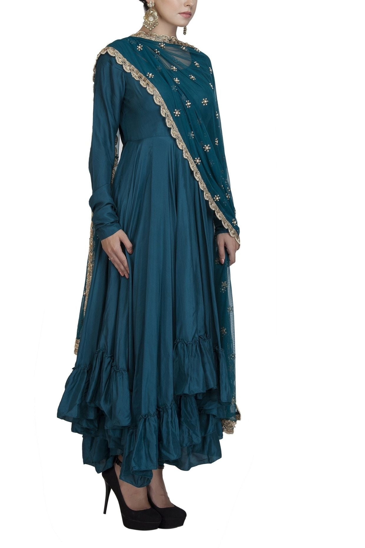 Teal Silk Full Sleeve Anarkali Suit