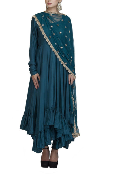 Teal Silk Anarkali Suit with embroidered Dupatta