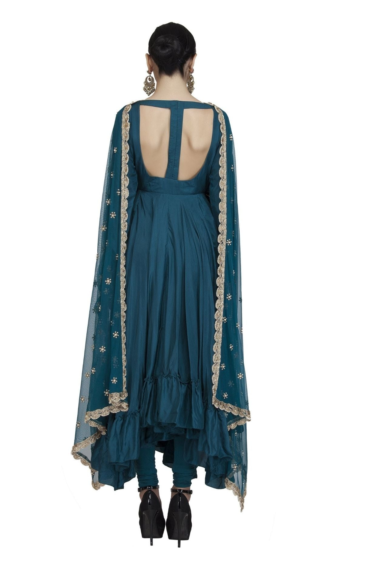 Teal Silk backless Anarkali Chudidar and Dupatta set