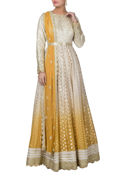 Yellow Ombre Dyed Chanderi Anarkali Suit with Dupatta