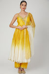 Yellow Ombre Dyed Embroidered Sleeveless Anarkali Suit