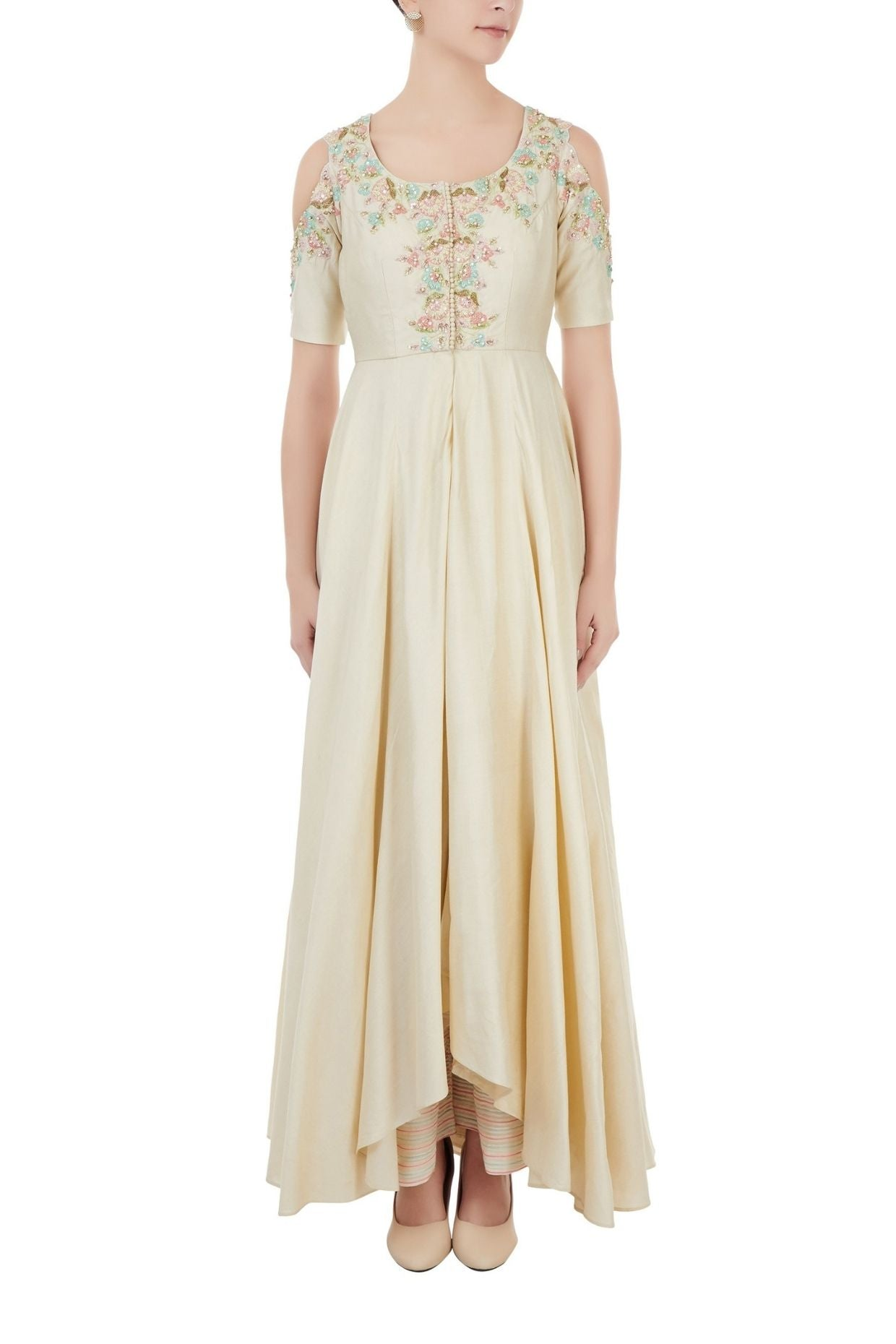 Beige Embroidered Palazzo Set