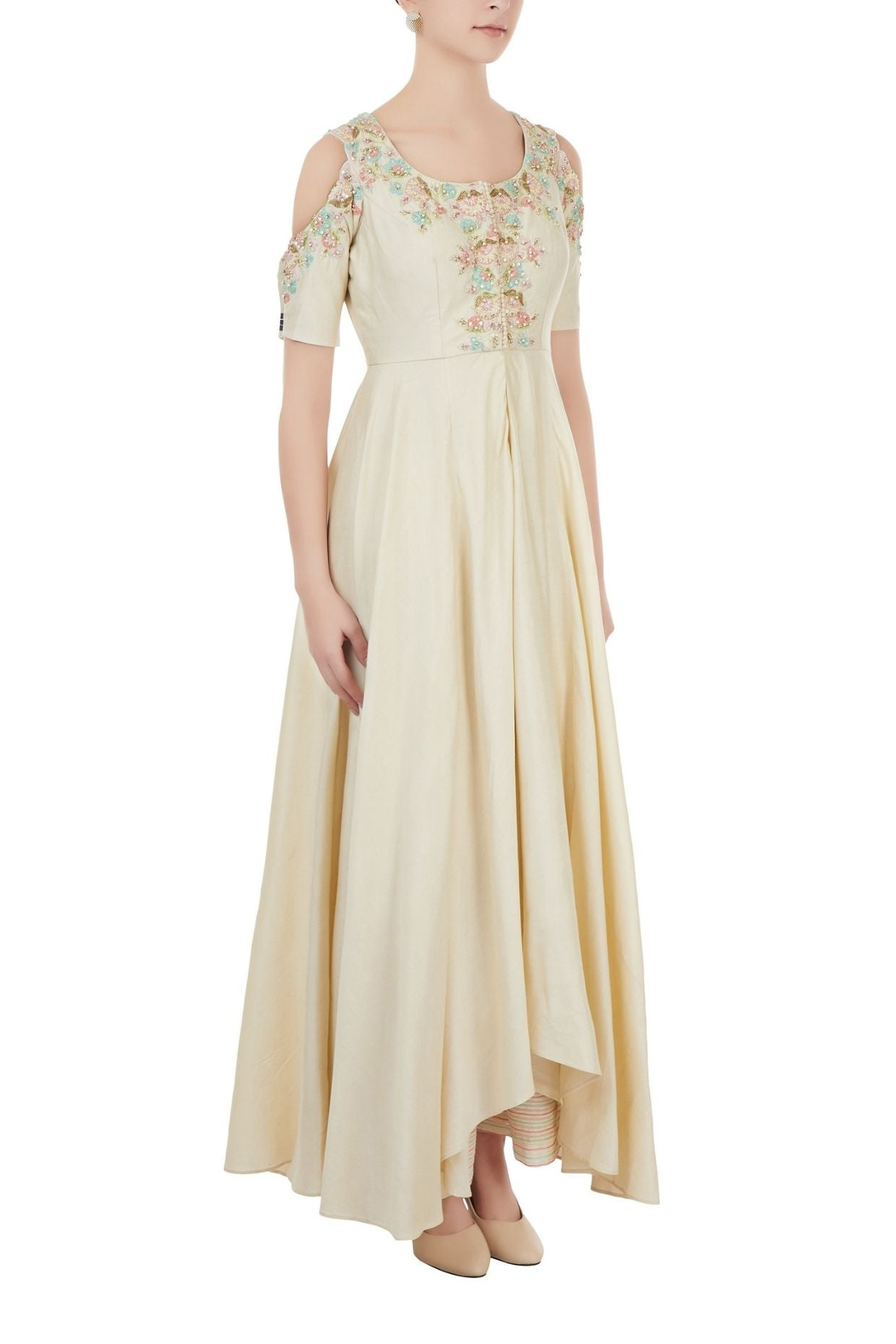 Beige Embroidered Palazzo