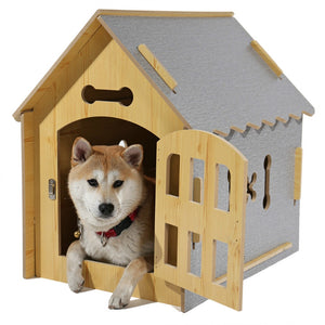 Pet Dog Solid Wood House Bed Cute