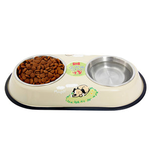 Stainless Steel Big Pet Double Bowl Feeder